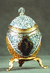 Siam, chicken egg, musical, siam silver,14kt gold leaf,austrian crystal