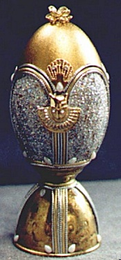 Eggery, Bastet:Duck Egg, 14kt Gold Leaf, Brass, Swarovski  Crystal